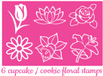 Floral cupcake / Cookie stamps x 6